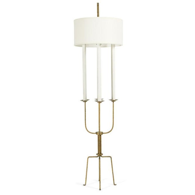 Tommi Parzinger Gilt Wrought Iron Candelabra Floor Lamp by Tommi Parzinger For Sale - Image 4 of 9