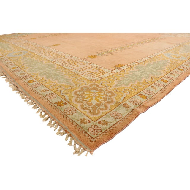 77400 West Anatolian Antique Turkish Oushak Rug with Georgian French Provincial Style 10'09 x 13'03. Balancing French...