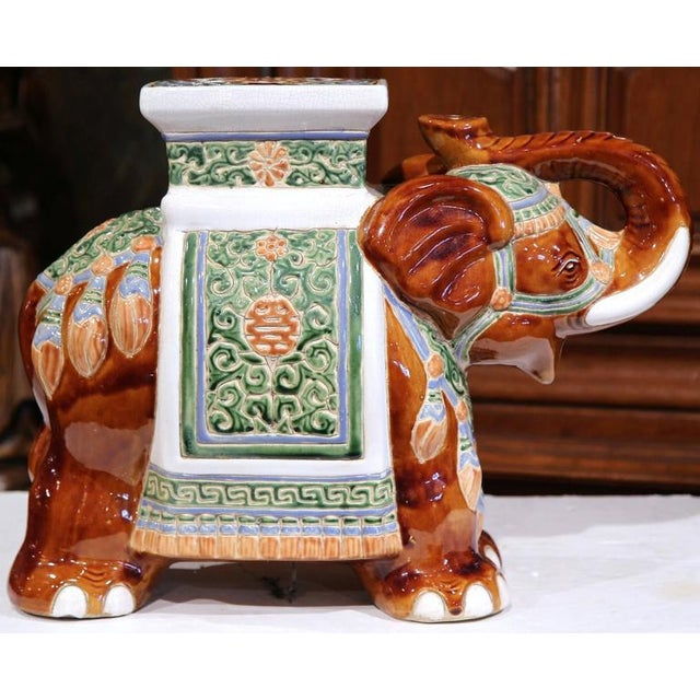 Asian Early 20th Century French Hand-Painted Faience Elephant Garden Seat For Sale - Image 3 of 8