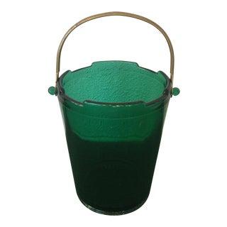Green Glass Ice Bucket
