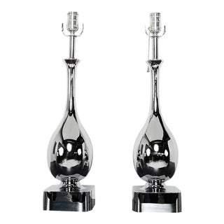 Maurizio Tempestini for Laurel Chrome Tear Drop Table Lamps - a Pair For Sale
