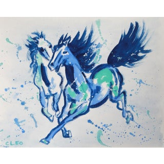 Chinoiserie Painting of Blue Horse by Cleo For Sale