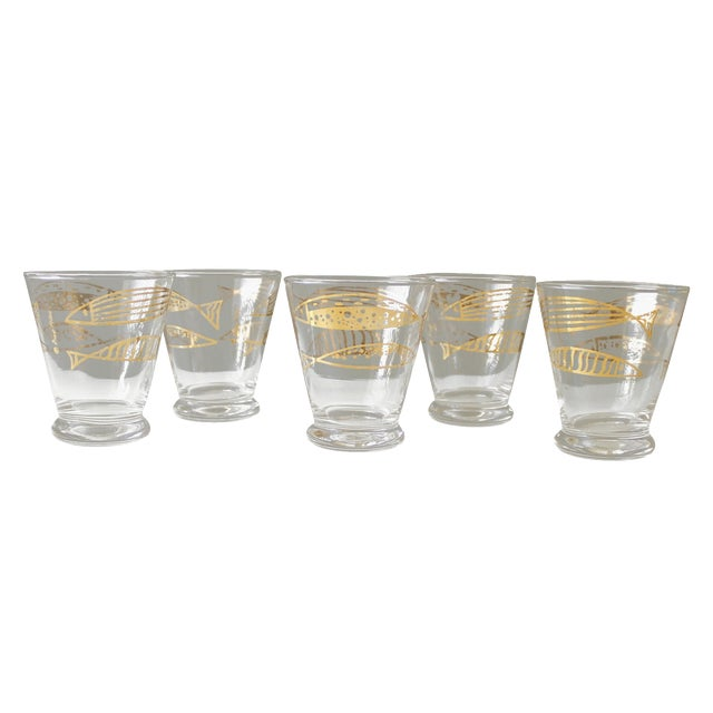 Mid-Century Fred Press Gold Fish Glasses - S/5 - Image 1 of 5