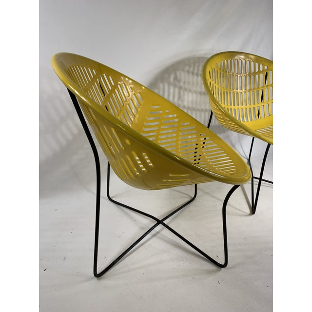 Plastic Mid Century Howard Johnson Hotel Yellow Solar Lounge Chairs- a Pair For Sale - Image 7 of 11