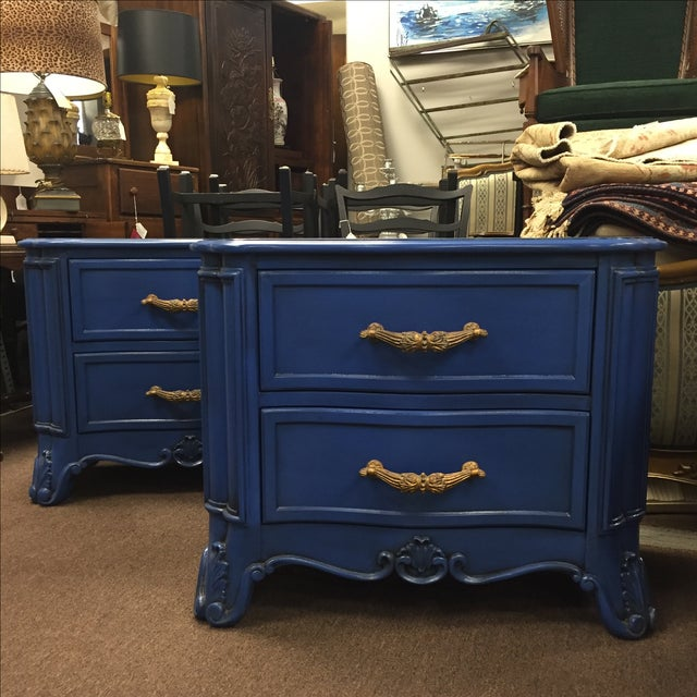 Blue Nightstands - A Pair - Image 2 of 8