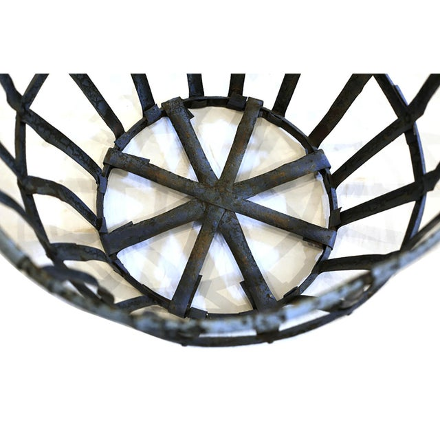 Late 19th Century Late 19th/Early 20th C. Distressed Industrial Iron Basket C. 1880-1920s For Sale - Image 5 of 6