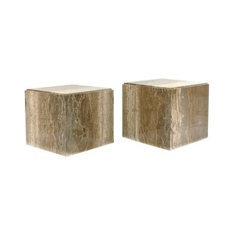 Travertine Cube Side Tables in the Style of Willy Rizzo - a Pair For Sale