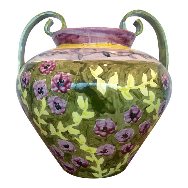 Impressionist Hand Painted Ceramic Urn Vase, Italy 1980's For Sale