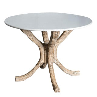 French Faux Bois Wood Table Base With White Marble Round Top For Sale