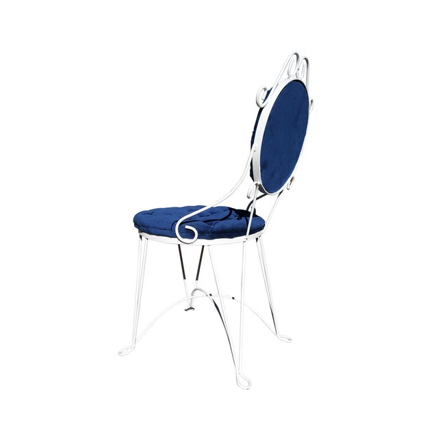 1960s Antique Iron Blue Velvet Vanity Single Chair For Sale In Portland, ME - Image 6 of 7