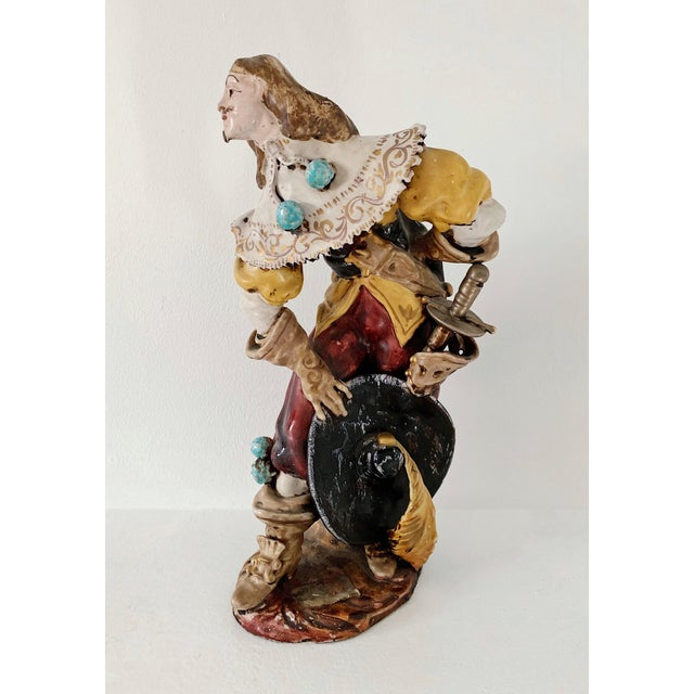 1920s Vintage A. Ciolli Italian Glazed Ceramic Musketeer Greeting Signed Sculpture For Sale - Image 9 of 9