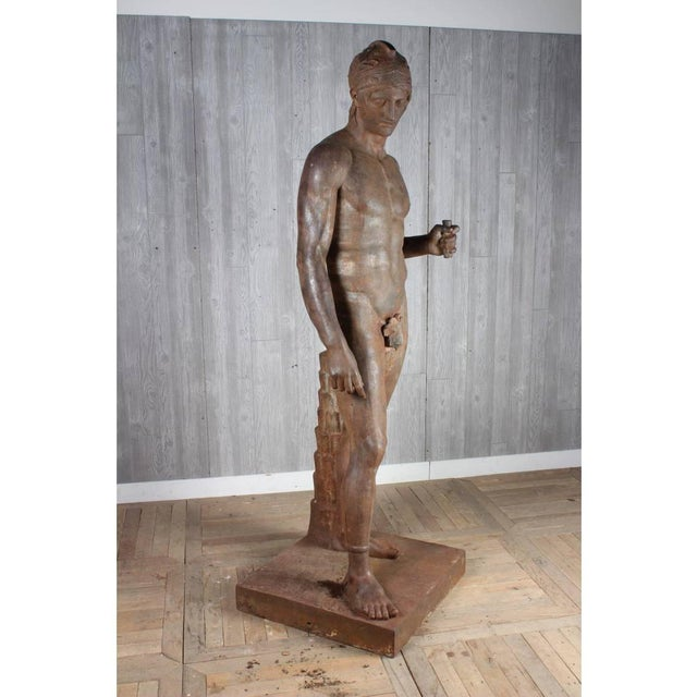 Late 19th Century Monumental French Iron Statue of a Classical Greek or Roman Male Nude, 19th Century For Sale - Image 5 of 6