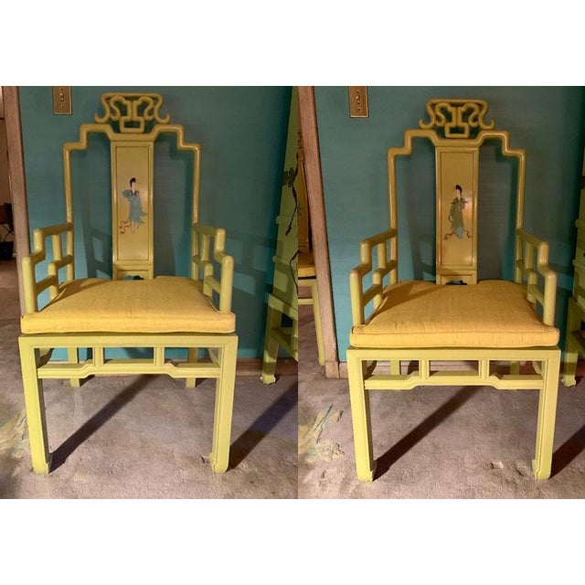1960s Vintage Yellow Wooden Hand Painted Asian Decorative Chairs- A Pair For Sale - Image 13 of 13
