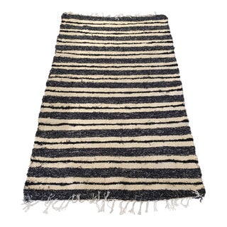 Handwoven Recycled Cotton Rug - 3′3″ × 5′10″ For Sale