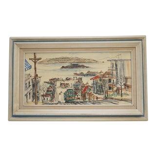 Mid-Century Modern San Francisco Scene by Marie Sardim For Sale