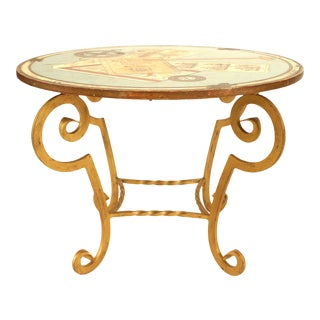 French Art Deco Gilt Wrought Iron Painted End Table For Sale