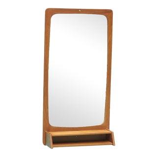 1960s Danish Teak Mirror With Petite Shelf For Sale