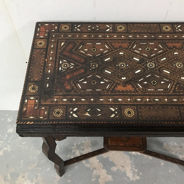 Antique Syrian Inlaid Game Table For Sale - Image 4 of 11