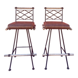 1970s Oak and Iron Bar Stools in the Style of Cleo Baldon - a Pair For Sale