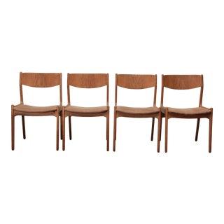1960s Midcentury Danish Modern Teak Side Dining Chairs With Teak Backs - Set of 4 For Sale
