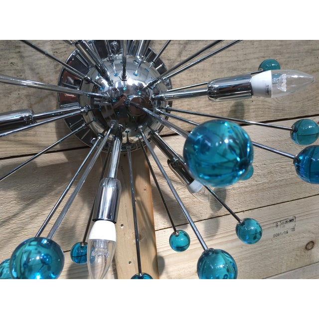 Murano Aqua Blue Murano Glass Sputnik Flush Mount or Wall Sconce For Sale - Image 4 of 10