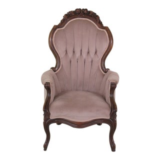 Victorian Style Solid Mahogany Gentleman's Parlor Chair For Sale