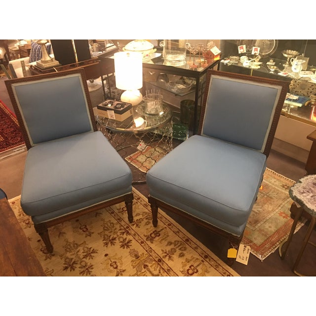 Blue Wooden Framed Blue Slipper Chairs - a Pair For Sale - Image 8 of 8