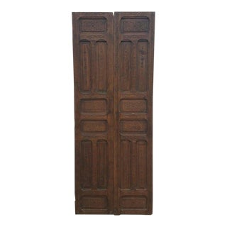Moroccan Carved Cedar Wood Double Panel Door