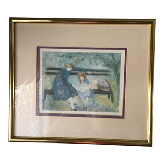 """1960s Vintage Barbara A. Wood Signed & Numbered """"Picnic"""" Print For Sale"""