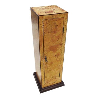 Early 20th Century Burled Wood Pedestal Cabinet in Refinished Condition For Sale