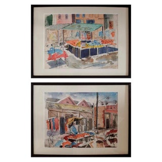Pair of Watercolors of Maxwell Street in Chicago by David Segel For Sale