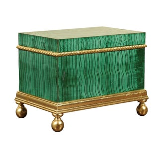 Hollywood Regency Faux Malachite Box