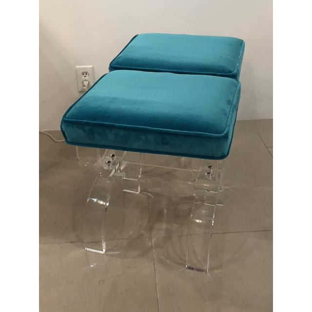 Lucite Vintage Hollywood Regency Blue Velvet Lucite X Benches Stools -A Pair For Sale - Image 7 of 13