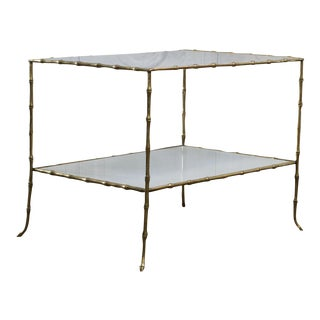 Maison Bagues Faux Bamboo Table With White Glass Top For Sale
