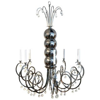 Large Mid Century Chrome and Crystal Eight Light Chandelier For Sale