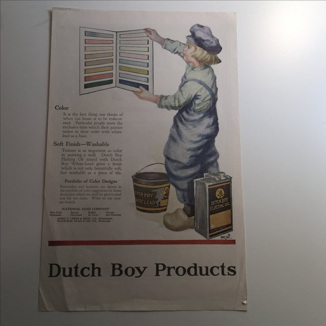 An estate sale find of antique car advertisement from the 1920s that is perfect for a child's room. Ready for framing....