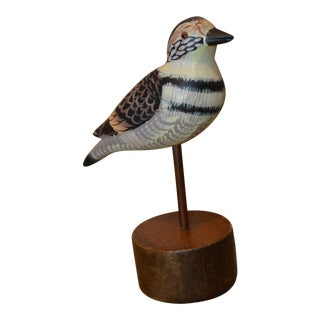 Hand Carved Wood Bird Decoy on Stand For Sale