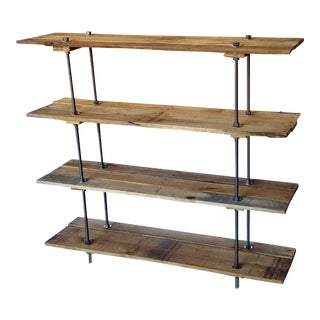Industrial Style 4 Shelf Pallet Wood Bookcase For Sale