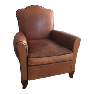 1930s French Chestnut Leather Club Chair
