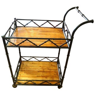 1960s Mid-Century Modern Black Iron and Rattan Bar Cart For Sale