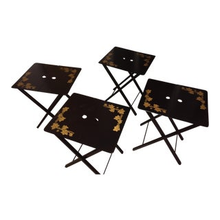 Vintage Woodcraft Inc. Black Lacquered Folding Snack or Cocktail Tray Tables - Set of 4 For Sale