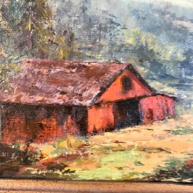 Impressionism 1969 Landscape Oil Painting on Canvas by Ruth Buschbaum For Sale - Image 3 of 8