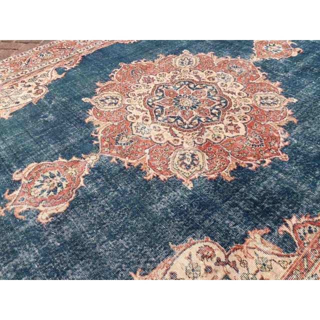 Islamic Large Distressed Oushak Rug For Sale - Image 3 of 13