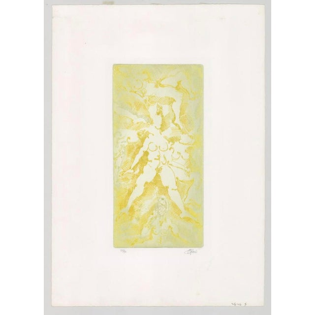 Modern Impromptu Nudes Yellow Etching by Stein 70s For Sale - Image 3 of 6