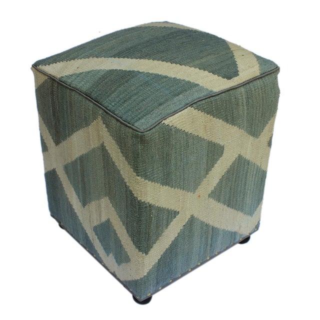Textile Arshs Daniel Gray/Ivory Kilim Upholstered Handmade Ottoman For Sale - Image 7 of 8