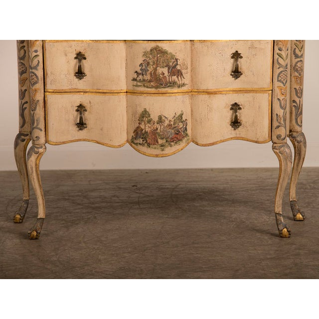 Gold Antique Italian Baroque Painted Two Drawer Chest, circa 1750 For Sale - Image 8 of 11