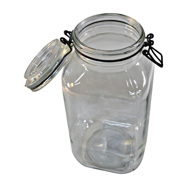 Ermetico Italian Clear Glass Canister For Sale