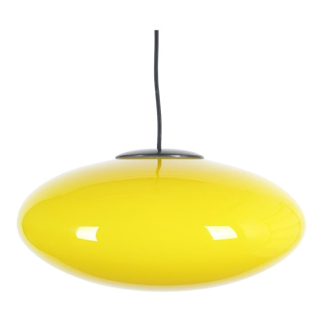 Yellow Stilnovo Glass Ball Pendant Lamp, Midcentury Italy For Sale