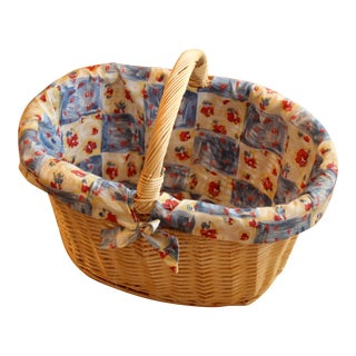Vintage Handmade Braided Wicker Shopping Basket For Sale