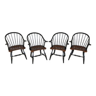 1970s British Colonial Ethan Allen Windsor Barrel Back Captains Chairs - Set of 4